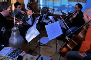 Kreutzer Quartet in rehearsal. PSS, Mihailo Trandafilovski, Clifton Harrison, Neil Heyde. 20 1 16Photo: Malene Skaerved