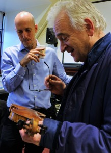 Cellist Neil Heyde with luthier John Dilworth. The never ending counterpoint between players and makers.