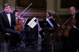 On stage, introducing works by Mihailo Trandafilovski, Michael Finnissy. Sadie Harrison, Richard Beaudoin, and David Matthews. Deptford Town Hall (Goldsmiths) 28 1 16. With Mihailo Trandafilovski, Clifton Harrison, Neil Heyde