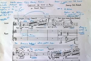 Responding to Holmes' recording of 'Capriccio'-my working score.