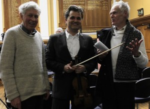 After the concert, at Deptford Town Hall, tonight, with two of our great composers: David Mattews (we played his 11th Qurtet) and Robin Holloway (I premiered his Sonatina for violin). Along with works by our dear friends Sadie Harrison and David Gorton. With Neil Heyde. Morgan Goff, Mihailo Trandafilovski. As I said at the concert, we live a time of musical richness, and its a privilege to explore