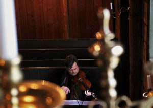 View from above. Playing Jorg Widmann-Etude 1 St Joergens Church. Bergen 1 6 16 (Photo Malene Skaerved)