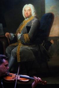 Playing the Ole Bull 1647 Nicola Amati under the stern gaze of Handel. National Portrait Gallery 28 8 15