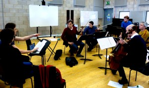 Working with young composers at the Royal Northern College of Music. 16 2 14. With Neil Heyde, Morgan Goff, Mihailo Trandafilovski