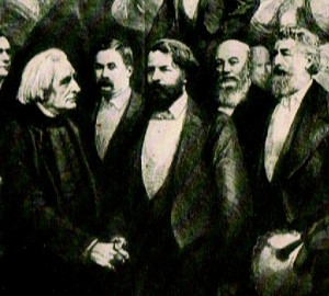 Joseph Joachim &Franz Liszt reconcile in London. April 1886.To the extreme right, Lord Leighton. From the 'Graphic' 17th April