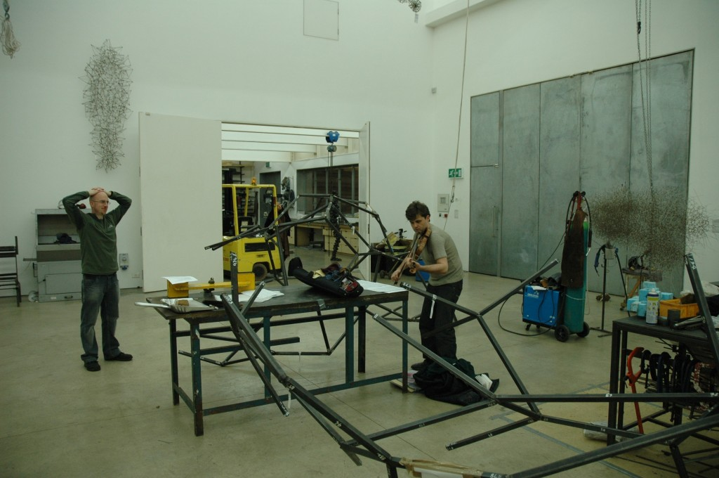 Jim Aitchison at work with PSS in Anthony Gormley's Studio. 2008