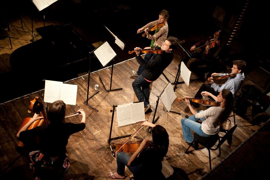 Rehearsing the Bach D Minor Concerto. Left to Right. Rachel Meerloo, Jessica Hayes, PSS, Philippa Mo, Diana Mathews, Nathaniel Anderson-Frank, Preetha Narayana