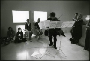 Playing Ernst's transcription of Schubert's 'Erlkonig', surrounded by the work of Meriele Neudecker, Tate St IVes, 2004. Photo: Richard Bram
