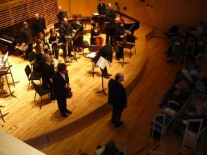 PSS with Elliott Schwartz at the world premiere of his Violin Concerto. Bowdoin College 2008.