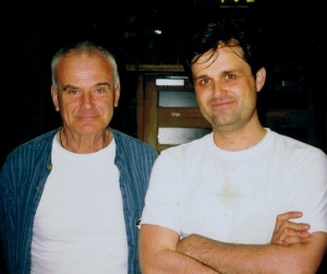 With Peter Maxwell Davies 2006, break in recording session for solo violin works
