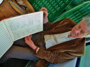 David Matthews on the train to record, with the 1970 manuscript of the 1st Quartet