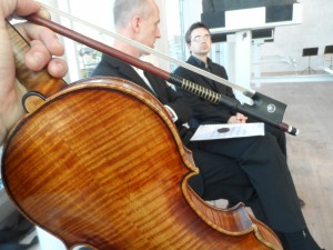 The back of the 1698 Joachim Strad, just before going on to play...(Julu 2013)