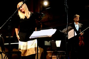 Onstage with Sadie Harrison, after the premiere of 'Gallery' Wilton's Music Hall, September 11th 2013