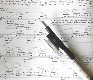 25 1 14: Detailed work with the 'Elgar Bow'. Note to self. Was Elgar on the brink (as he became a composer, and less a virtuoso) of developing a gernuinely British School of violin technique, based on a democratic equality of all the digits of the left hand and what he called the 'poise' of th ebow.