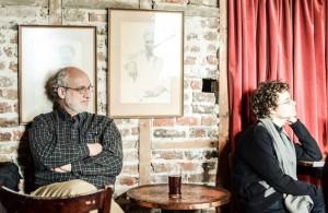 Two composers listen. Michael Rose and Sean Calhoun. Wilton's Music Hall 6 3 14 (Photo David Gorton)
