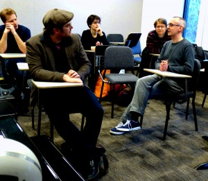 David Gorton discusses his Dowland Project in the Composers Class. With Carter Callison, Sara Cubarsi and Macek Burdzy 27 2 14