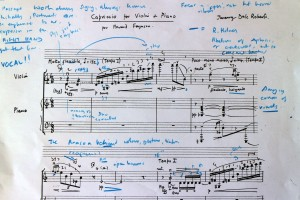 The opening of Jeremy Dale Roberts' 'Capriccio'. with my notations of today's work with the Holmes performance