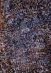 Walking the Roman Wall with Marius. Beginning-tesserae in St Hallows by the Tower Crypt 8 4 14