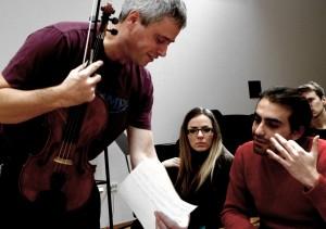 Morgan Goff working with  composer  Cecilia Damström and Chritos Ntovas