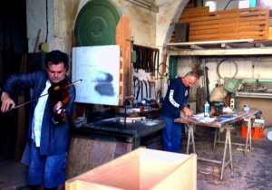 Into the workshop-hunting for sound in the workshops of Nikosia with Evis Sammoutis. Here, a very friendly carpenter (still from film) 1 12 14