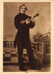 Ole Bull, in the 1860s (Carte-de-viste). Holding a Grand pattern Amati, which may be the 'Pearl'