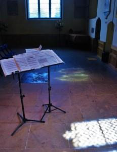 Preparing for concert and workshop. St Margarets Walmgate 9 6 15