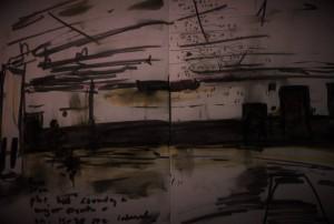 Bill Viola-Talking Drum (ands annotations from Webern-Triosatz), Brewer Street Car Park 27 10 15