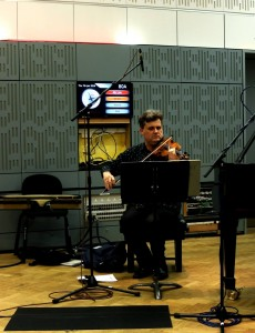Peter Sheppard Skaerved broadcasting Michael Alec Rose's 'Song' for BBC Radio 3, Broadcasting House, London, 9 1 16