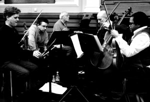 Kreutzer Quartet in rehearsal with Michael Finnissy. 28 1 16 (Photo Colin Still)