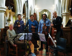 With David Matthews and my friends from the quartet. MihailoTrandafilovski, Clifton Harrison, Neil Heyde. Aldbury Parish Church 30 6 16
