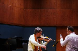 Evis and Peter at work. Hockett Recital Hall, Ithaca College 15 9 16